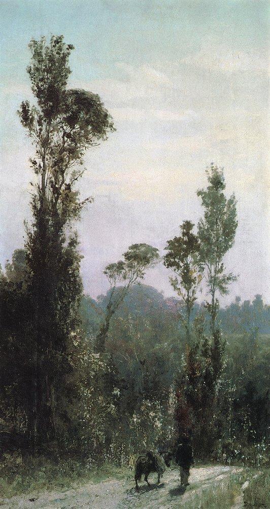 Итальянский пейзаж с осликом