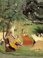 Кришна и Радха под деревом во время грозы