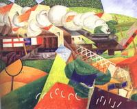 Санитарный поезд, мчащийся через город (Дж. Северини)