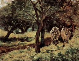 Два быка в оливковой роще (Дж. Фаттори)