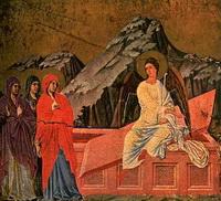 Жены-мироносицы у гроба Господня (Дуччо, XIV в.)