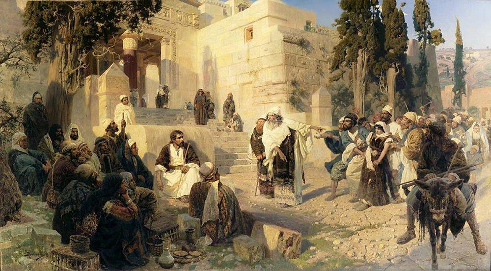 Христос и грешница (Кто из вас без греха). Эскиз к картине