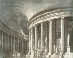 Храм с колоннадой-ротондой, фигурами и скульптурой философов