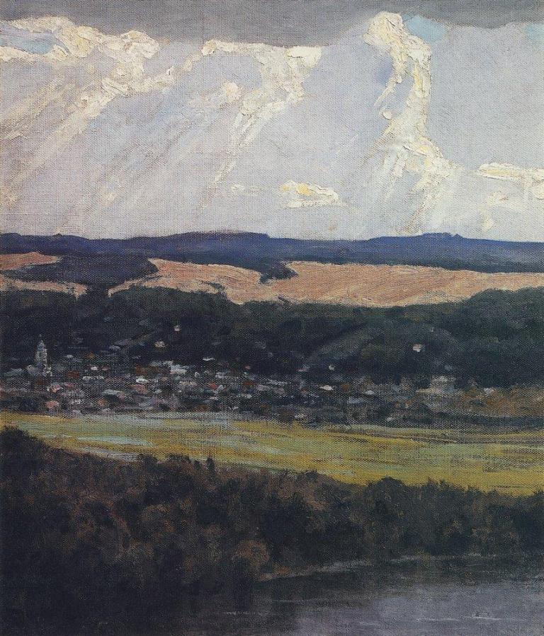 Вид Тарусы с высокого берега Оки