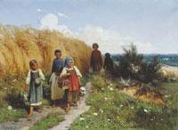 Дети, несущие в поле обед жнивцам (А.Д. Кившенко)