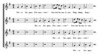 Начало простого четырехголосного канона (ноты)
