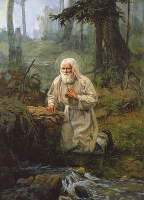 Моление о даровании источника. Святой Серафим Саровский
