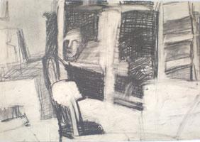 В студии (рисунок графитом)