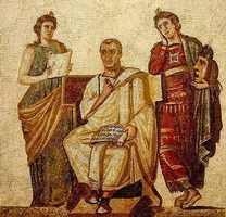 Вергилий в окружении муз Клио и Мельпомены
