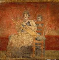 Римская фреска (а секко, 40-30 г. до н.э.)