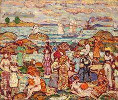 На пляже (М. Прендергаст, 1910-1913 г.)