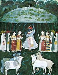Кришна поднимает гору Говардхан (18 в.)