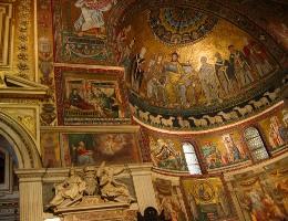 13-й век, Санта-Мария-ин-Трастевере, Рим, мозаика, смальта