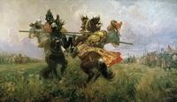 Поединок Пересвета с Челубеем на Куликовом поле (М.И. Авилов, 1943 г.)